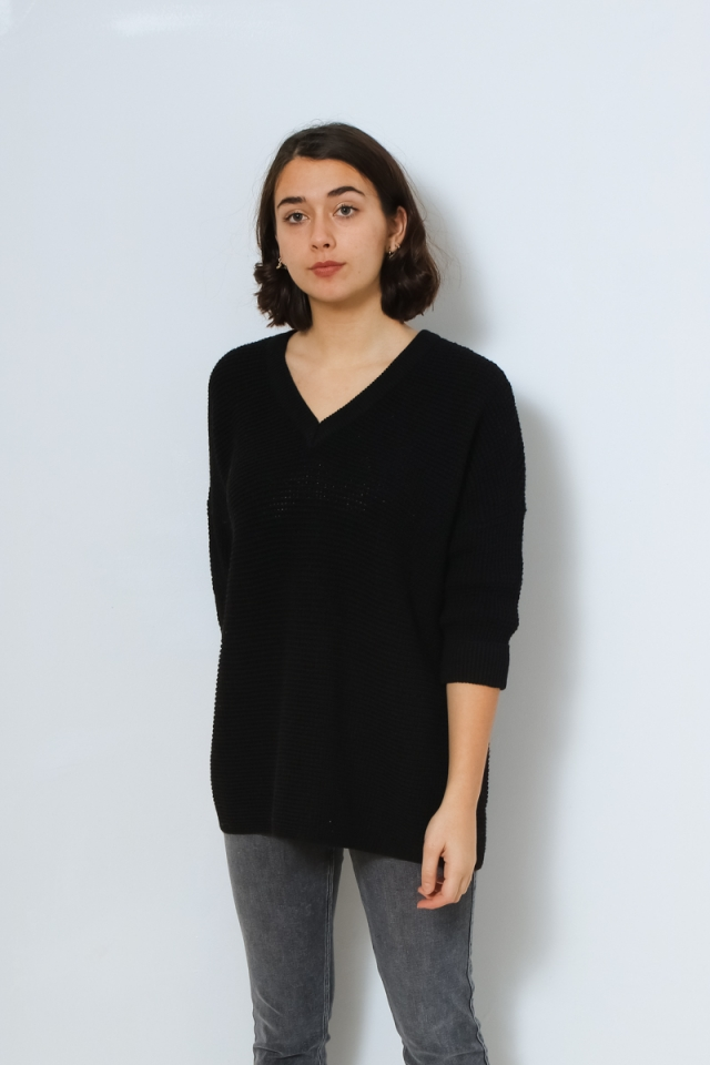 VMLEANNA 3/4 V-NECK LONG BLOUSE GA Black
