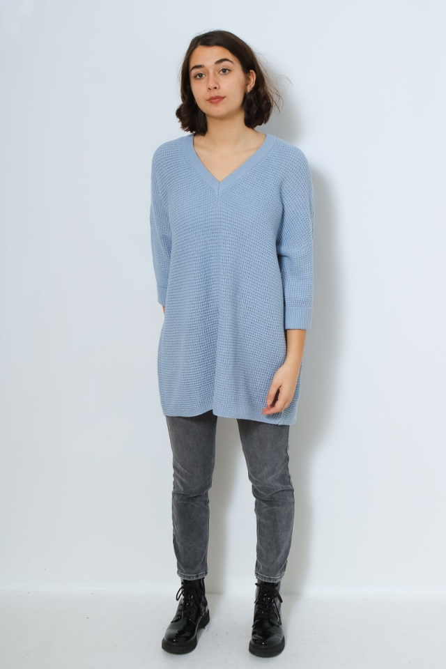 VMLEANNA 3/4 V-NECK LONG BLOUSE GA Blue Fog