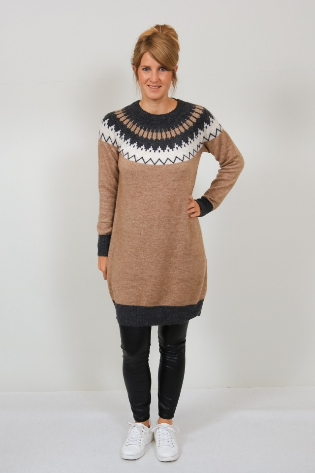 VMSIMONE LS O-NECK NORDIC DRESS GA Sepia Tint/MELANGE