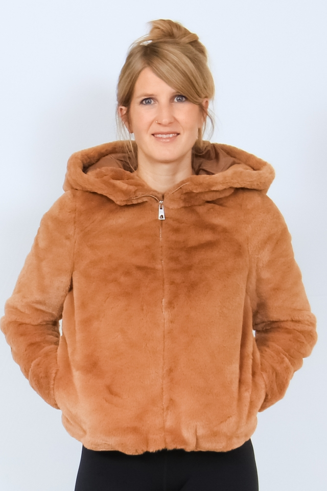 VMTHEA HOODY SHORT FAUX FUR JACKET Tobacco Brown