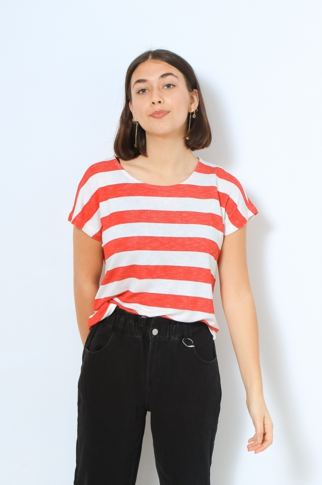 VMWIDE STRIPE S/L TOP GA NOOS Goji Berry/SNOW WHITE