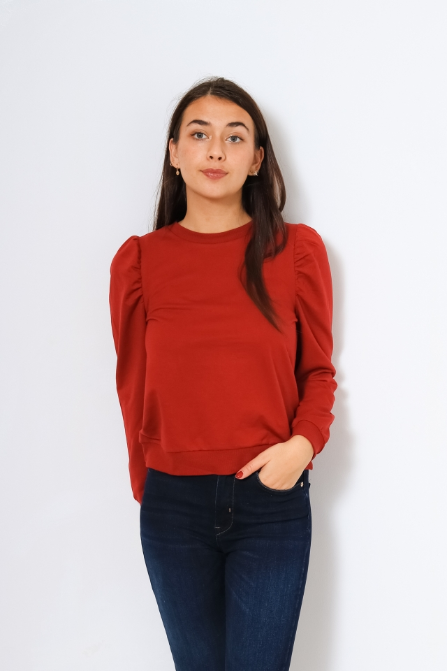 VIARALYN L/S PUFF SWEAT TOP/L Red Dahlia