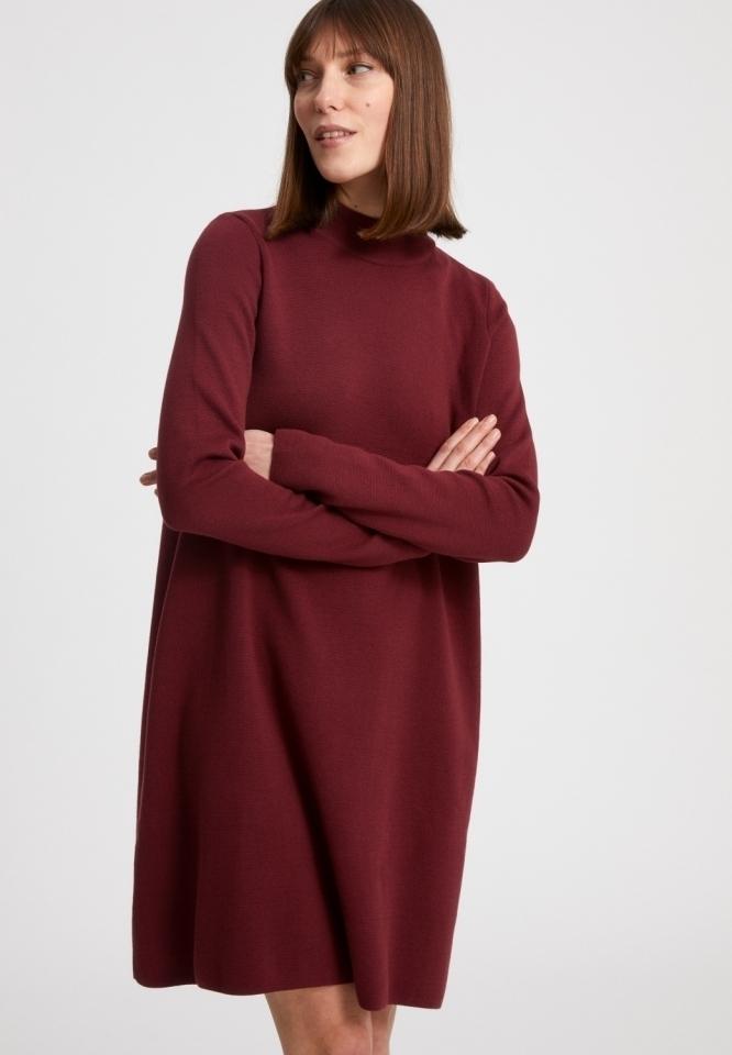 FRIADAA Kleider Strick Streifen ruby red