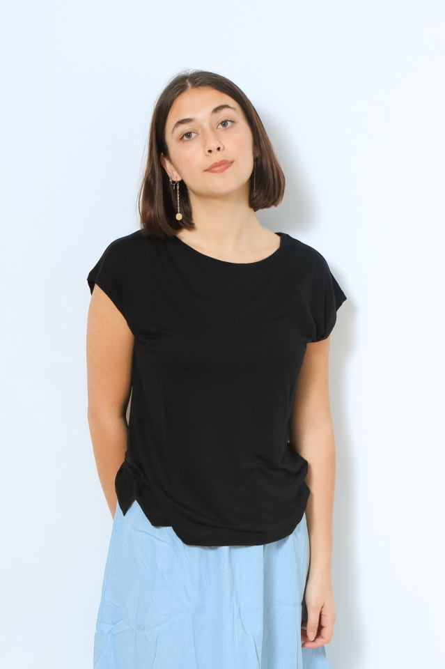 JILAA Shirts T-Shirt Solid black