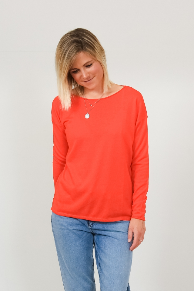 LADAA Strick Pullover Solid glossy orange