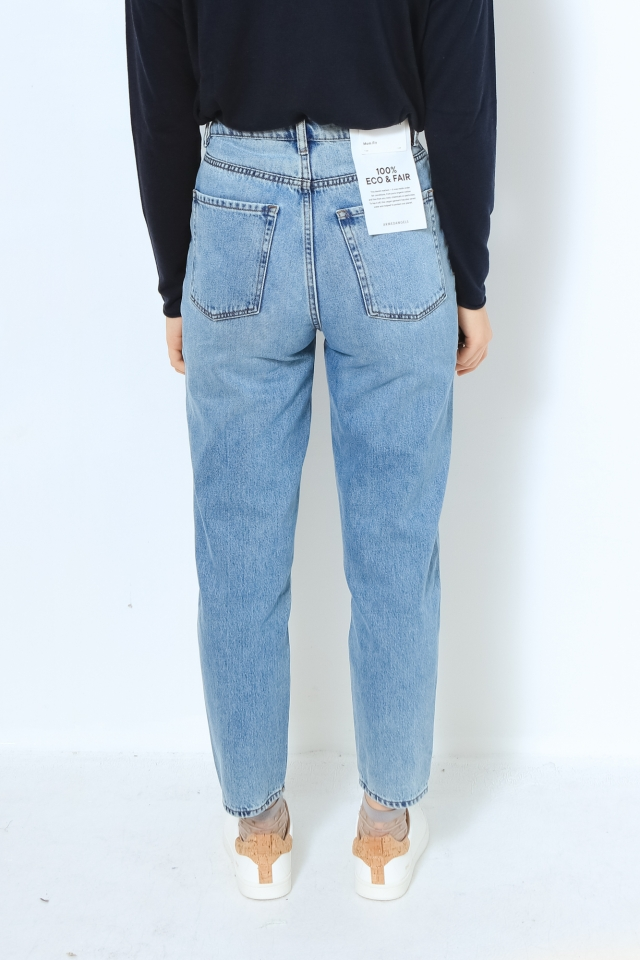 MAIRAA Denims / 5 Pockets Mom Solid faded blue