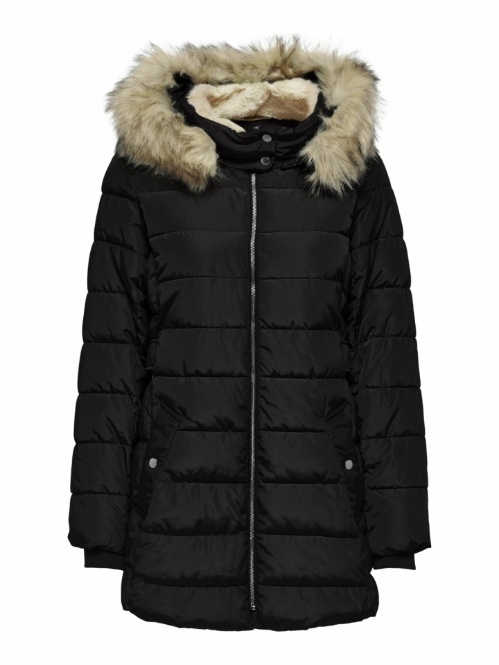 ONLCAMILLA HOOD FUR COAT OTW Black/MOUNTAINS