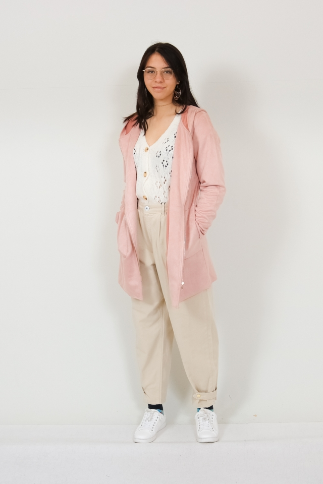 ONLHANNAH FAUX SUEDE HOODED JACKET Adobe Rose