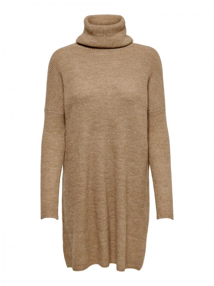 ONLJANA L/S COWLNCK DRESS WOOL KNT Indian Tan/W. MELANGE