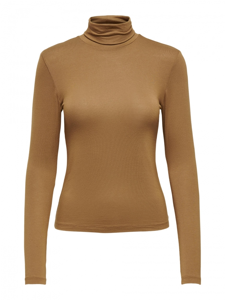ONLLELA LIFE L/S ROLLNECK TOP NOOS Toasted Coconut