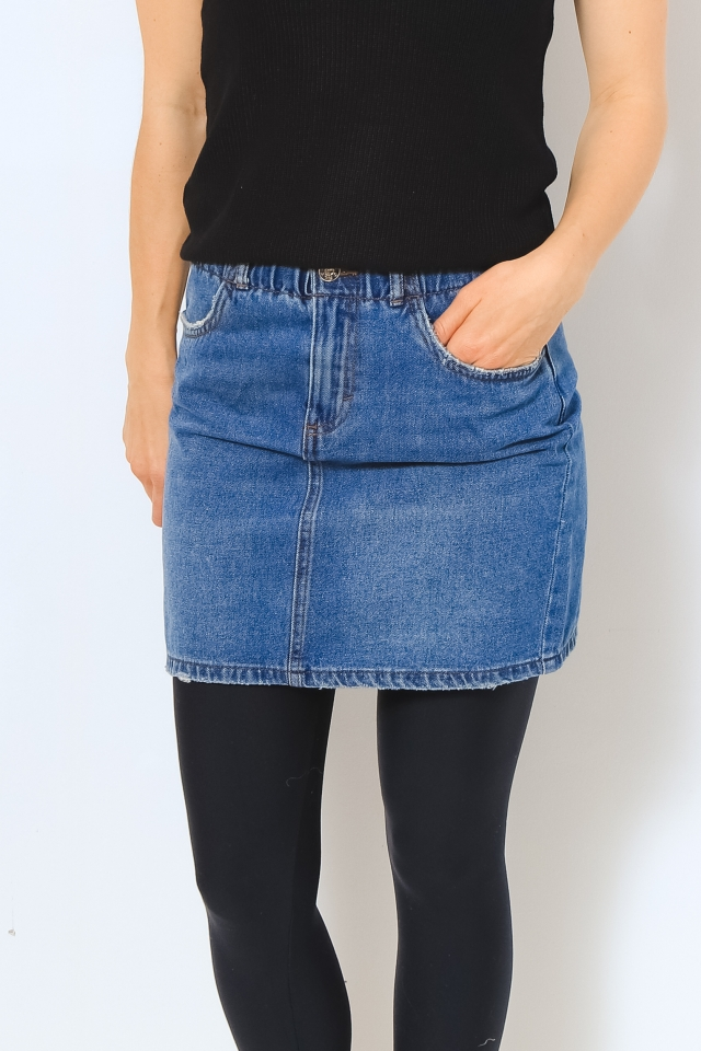 ONLMILLIE LIFE HW MINI PAPER SKIRT Medium Blue Denim
