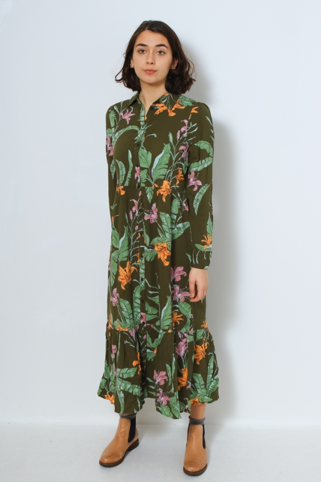 ONLPALM LIFE L/S MIDI DRESS WVN Winter Moss/WILD FLOWER