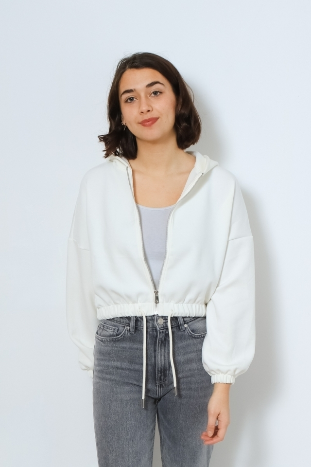 ONLSCARLETT L/S HOOD ZIP SWT Cloud Dancer