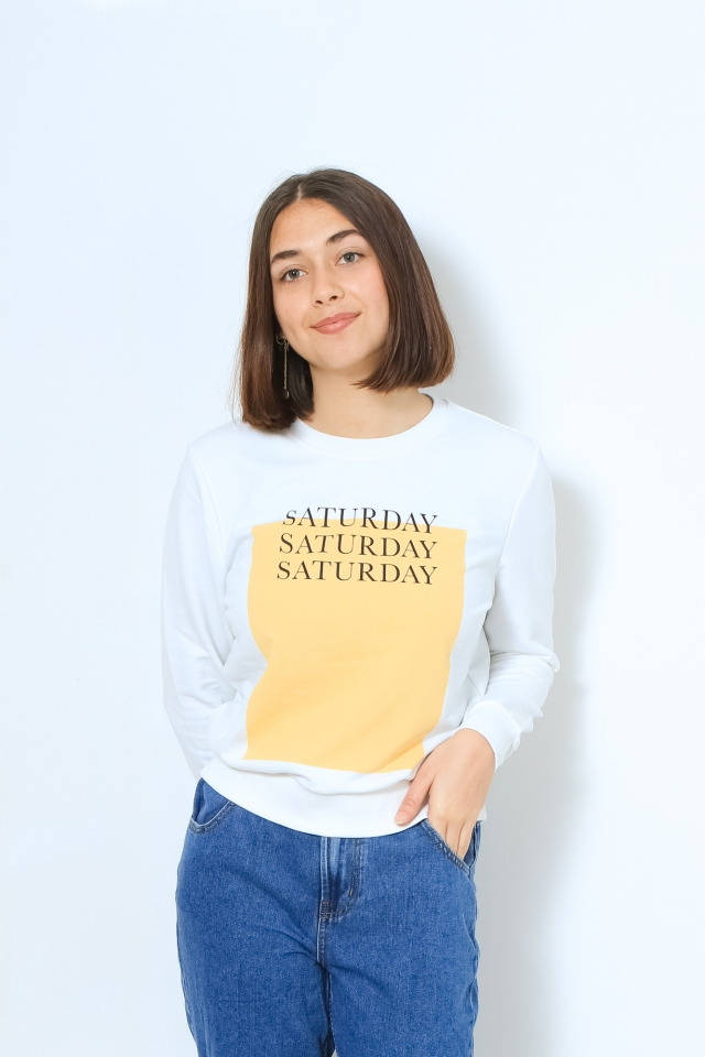 ONLWEEKDAY LIFE REG L/S O-NECK SWT Bright White/PARTY