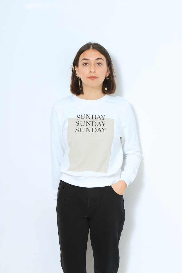 ONLWEEKDAY LIFE REG L/S O-NECK SWT Bright White/OHLALA