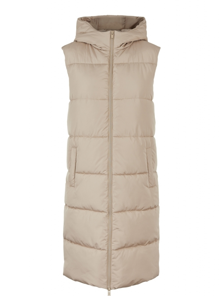PCBEE NEW LONG PUFFER VEST BC Silver Mink