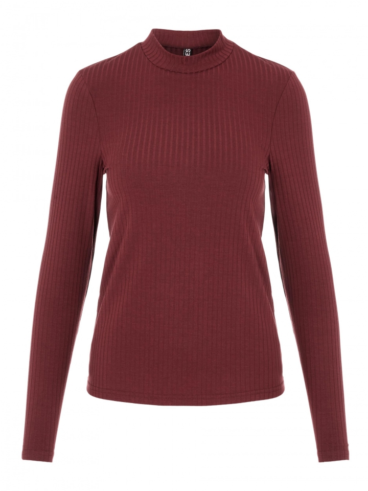 PCKYLIE LS T-NECK TOP NOOS Red Mahogany/CP