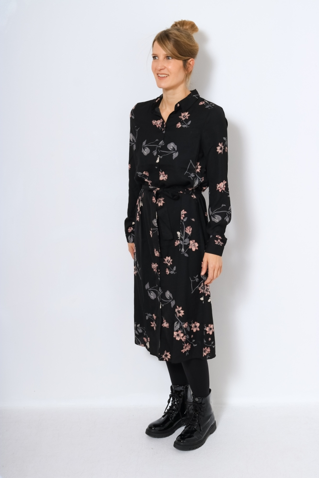 VMLALLIE L/S CALF SHIRT DRESS EXP G Black/IRIS