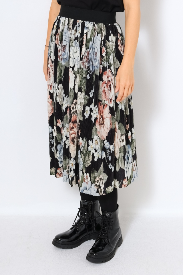 VIBLAMIA PLISSE SKIRT/OFW Black/BIG FLOWER PRINT