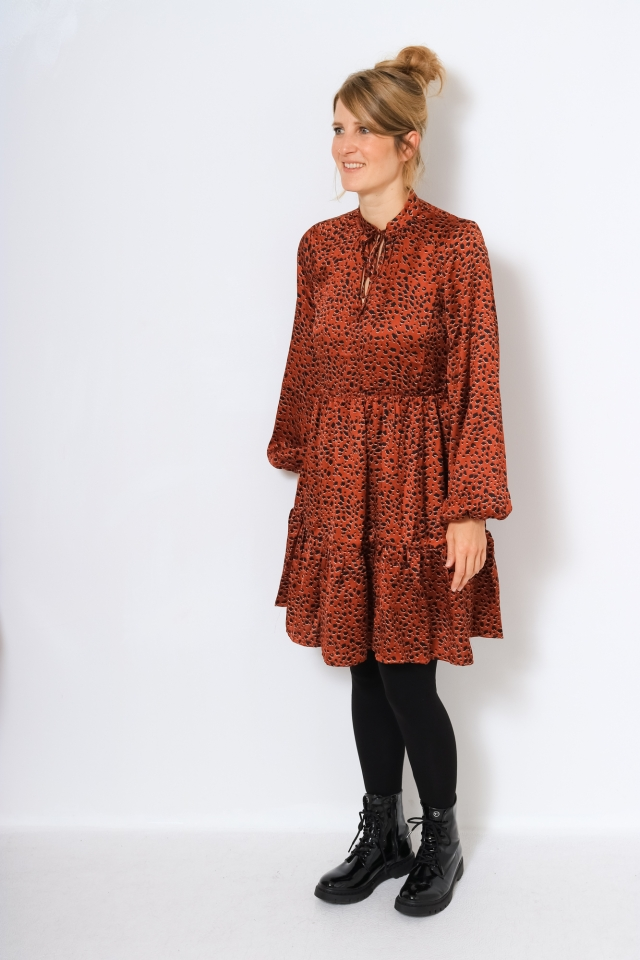 VIRAMDI TULLAN L/S DRESS/OFW Burnt Henna/LEO